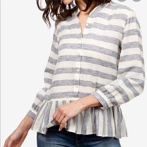 Lucky Brand Stripe Long Sleeve Peplum Top